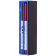 Набор маркеров для белых досок Milan 4цв., пулевидный, 2,5мм, с магнитным стирателем