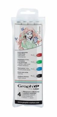 Набор капиллярных ручек Graph-It Fine Liner 4 штуки (0,5мм: черный, красный, синий, зеленый) в пластиковой упаковке