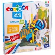 """Набор для рисования Carioca """"Elephant"""" 18 фломастеров + сборная подставка, картон.уп."""
