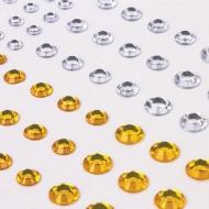 """Стразы самоклеящиеся """"Круглые"""" Остров Сокровищ, 6-15 мм, 80 шт., цвет золотой/серебристый, на подложке"""