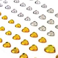 """Стразы самоклеящиеся """"Сердце"""" Остров Сокровищ, 6-15 мм, 80 шт., цвет золотой/серебристый, на подложке"""