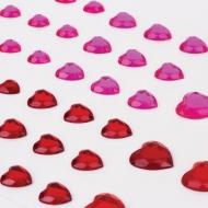 """Стразы самоклеящиеся """"Сердце"""" Остров Сокровищ, 6-15 мм, 80 шт., розовые/красные, на подложке"""