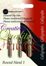 Набор перьев Manuscript Round Hand 1 (№1, №2, №3) 3 штуки в блистере