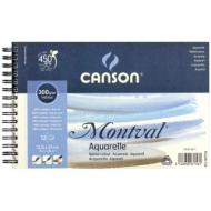 Альбом для акварели Canson Montval 300г/кв.м (целлюлоза) 13.5*21см 12листов Фин спираль по короткой стороне