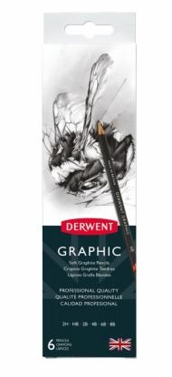 Набор чернографитных карандашей Derwent Graphic 6 штук+точилка, в мет.пенале