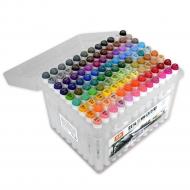 Набор двусторонних маркеров для скетчинга и творчества, пластиковый бокс с ручкой, 108 цветов