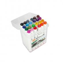 Набор двусторонних маркеров для скетчинга и творчества, пластиковый бокс с ручкой, 24 цвета
