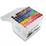 Набор двусторонних маркеров для скетчинга и творчества, пластиковый бокс с ручкой, 80 цветов