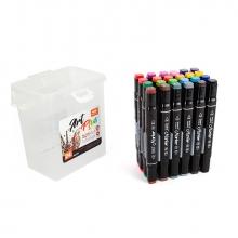 Набор профессиональных двусторонних маркеров для скетчинга, пластиковый бокс с ручкой, 24 цвета
