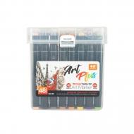 Набор профессиональных двусторонних маркеров для скетчинга, пластиковый бокс с ручкой, 48 цветов