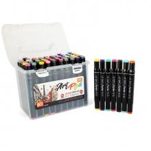 Набор профессиональных двусторонних маркеров для скетчинга, пластиковый бокс с ручкой, 60 цветов