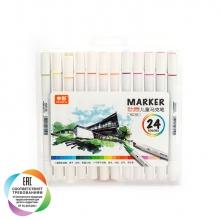 Набор художественных двусторонних маркеров для скетчинга и творчества, кейс, 24 цвета