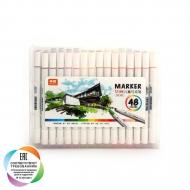 Набор художественных двусторонних маркеров для скетчинга и творчества, кейс, 48 цветов