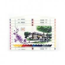 Набор  художественных двусторонних маркеров для скетчинга, кейс с ручкой, 48 цветов