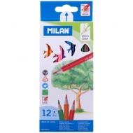 "Карандаши Milan ""231"", 12цв., трехгран., заточен., картон, европодвес"