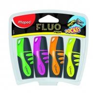 Набор маркеров текстовыделителей Fluo peps pocket Maped, 4 цвета, наконечник 1-5 мм