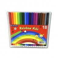Набор детских фломастеров для рисования Rainbow Kids Centropen, 18 цветов