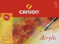 Альбом для акрила Canson 400г/кв.м 24*32см 50листов Фин склейка по длинной стороне