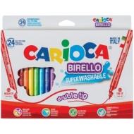 """Фломастеры двусторонние Carioca """"Birello"""", 24 цвета, 24шт., смываемые, картон, европодвес"""