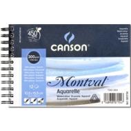 Альбом для акварели Canson Montval 300г/кв.м (целлюлоза) 10.5*15.5см 12листов Фин спираль по короткой стороне