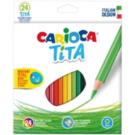 """Карандаши пластиковые Carioca """"Tita"""", 24цв., заточен., картон, европодвес"""