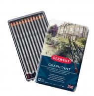 Набор акварельных карандашей Derwent Graphitint 12 цветов, металлический пенал