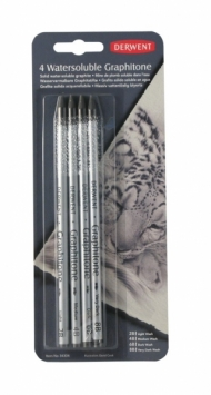 Набор чернографитных водорастворимых карандашей Derwent Graphitone, 4 шт.