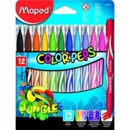 Детские смываемые фломастеры Color peps Jungle Maped, 12 цветов