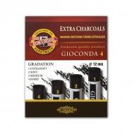 """Художественный уголь натуральный KOH-I-NOOR """"Gioconda"""", 4 шт, диаметр 12 мм, твердость 1,2,3,4"""