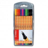 Набор капиллярных ручек Point 88 STABILO для письма, рисования и черчения, 10 цветов