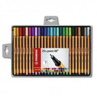 Набор капиллярных ручек Point 88 STABILO для письма, рисования, 25 цв. в пластиковом футляре