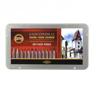 Сухая пастель в карандашах Gioconda KOH-I-NOOR для любителей и профессионалов, 12 цветов