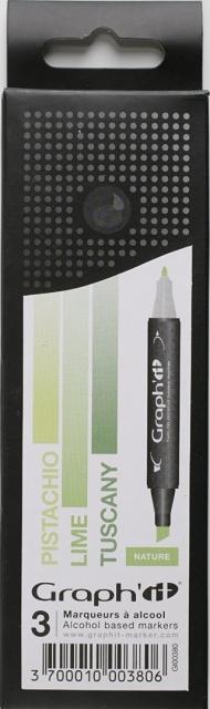 Набор маркеров Graph-It 3 штуки Nature (оттенки зеленого) в пластиковой упаковке
