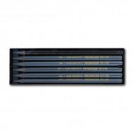 Набор чернографитных карандашей KOH-I-NOOR PROGRESSO, от 8B до HB, 5шт+1 акварельный, в лаке без дерева
