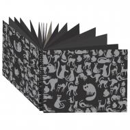 """Блокнот для эскизов А4 210х297 мм """"Ночные коты""""160 г/м2, черная тонированная бумага, 40 листов, БЛ-8918"""