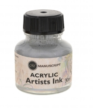 Тушь Manuscript акриловая 30мл банка стекло цвет серебристый