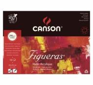 Блок для масла Canson Figueras 290г/кв.м 33*24см 10листов Зерно холста склейка по 4 сторонам