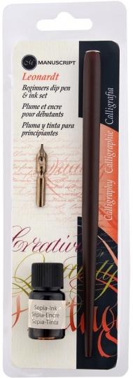 Набор для каллиграфии Manuscript Leonardt Beginner's (держатель, перо, чернила сепия) в блистере