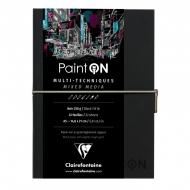 """Скетчбук для смешанных техник Clairefontaine """"Paint'ON"""", 250г/м2, легкое зерно, черная бумага, 32л., А5, на сшивке"""