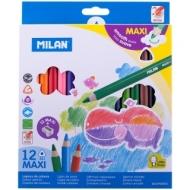 """Карандаши Milan """"261 Maxi"""", 12цв., трехгран., заточен., картон, европодвес, с точилкой"""