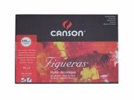 Альбом для масла Canson Figueras 290г/кв.м 33*24см 10листов Зерно холста склейка по короткой стороне