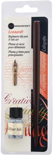 Набор для каллиграфии Manuscript Leonardt Beginner's (держатель, перо, серебряные чернила) в блистере