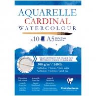 """Альбом для акварели Clairefontaine """"Cardinal"""", А5, 300г/м2, торшон, холод.пресс., склейка, 10 л."""