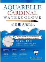 """Альбом для акварели Clairefontaine """"Cardinal"""", А3, 300г/м2, торшон, холод.пресс., склейка, 10 л."""