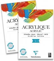 """Альбом для акрила Clairefontaine """"Acrylic"""", А4, 360 г/м2, склейка, 10 л."""