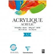"""Альбом для акрила Clairefontaine """"Acrylic"""", А3, 360 г/м2, склейка, 10 л."""
