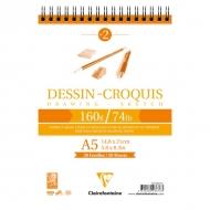 "Блокнот для эскизов Clairefontaine ""Dessin croquis"", А5, 160 г/м2, на гребне, 35 л."