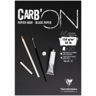 "Блокнот для эскизов Clairefontaine ""Carb'ON"", А5, 120 г/м2, склейка, 20 л., черный"