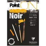 "Альбом для смешанных техник Clairefontaine ""Paint'ON Noir"", А5, 250 г/м2, склейка, 20 л., черный"
