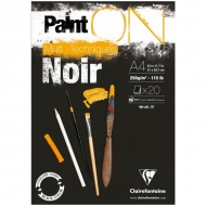 "Альбом для смешанных техник Clairefontaine ""Paint'ON Noir"", А4, 250 г/м2, склейка, 20 л., черный"